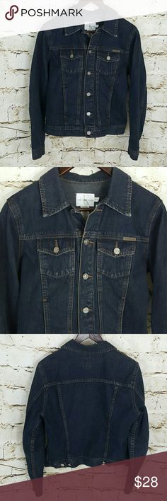 "Calvin Klein denim jacket Like new condition denim jacket, stamped Calvin Klein logo buttons 21"" across from armpit to armpit and 22"" long from shoulder to hem Calvin Klein Jackets & Coats"