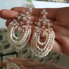 Beautiful Pearls and diamonds earrings