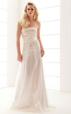 Check out the 2012 fashion wedding dresses, you may amazingly find that front-split design has been one of the hot issues. Here is the Strapless Sweep/Brush Train Sheath/Column Wedding Dresses With Draped right for you. This is the latest design that can elongate slim legs as well as be convenient for walk. With perfect silhouette, this stylish wedding dress combined with the fabric and embellishments will have every eyes on the room focused on you and be comfortable and feel - $184.99