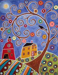 Swirl Tree, House & Barn