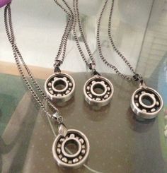 Made from quad skate bearings and chrome chain Skate Bearings, Skateboard Bearings, Jewelry Roll, Cute Jewelry, Mother Daughter Book Club, Roller Skate Wheels, Roller Derby Girls, City Roller, Speed Skates