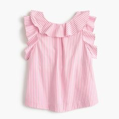 Crew for the Girls' ruffle top in pink stripe. Find the best selection of Girls Shirts & Tops available in-stores and online. Kids Girls Tops, Baby Girl Tops, Pink Outfits, Dress Outfits, Little Dresses, Girls Dresses, Striped Linen, Pink Stripes, Ruffle Top