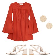 For Evening - Wear a pop-of-color minidress with tassel mid-heel sandals for a dressed-up vibe that is also practical enough for a sunset stroll.