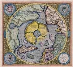 Hyperborea. The Arctic continent on the Gerardus Mercator map of 1595.