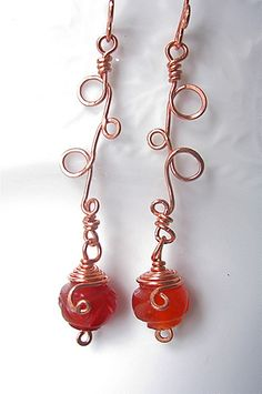carnelian copper wire-wrapped earrings by seasidestudio32, via Flickr