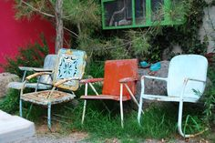 Shabby vintage metal chairs