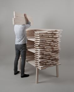 Highstack by ALLT Studio The structure used industrially when stacking unfinished wood planks is to avoid degradation and allow better manipulation. By cutting out spaces an object is created and its. Cabinet Furniture, Living Furniture, Wood Furniture, Furniture Design, Wood Architecture, Architecture Magazines, Wall Shelving Units, Wood Shelves, Bespoke Furniture