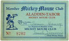 Hake's - ALADDIN-TABOR MICKEY MOUSE CLUB SCARCE BUTTON AND RARE ...