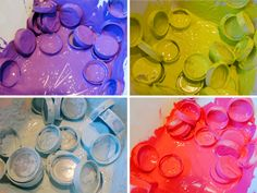 Painting plastic bottle caps for a project Plastic Bottle Caps, Bottle Cap Crafts, Painting Plastic, Bottle Painting, Diy Arts And Crafts, Diy Crafts, Bottle Top Art, Art For Kids, Crafts For Kids