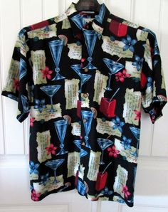 Men's Hawaiian Shirt New Tropical Cocktails Recipes Flowers Reverse Print Small #MESport #ButtonFront