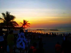 Take a snap. .Beautiful Sunset in Kuta Beach from Discovery Mall Kuta Bali,Indonesia