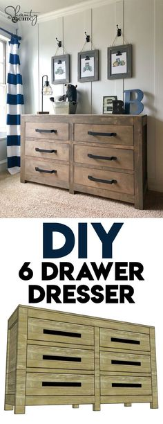 LOVE this dresser so much! I needed some extra storage for one of my boys, and I designed and built this as the solution! Come check out the FREE plans! via farmhouse dresser, DIY Modern Farmhouse 6 Drawer Dresser Diy Furniture Plans, Diy Furniture Projects, Farmhouse Furniture, Furniture Stores, Furniture Outlet, Wood Projects, Furniture Repair, Diy Dresser Plans, Dresser Ideas