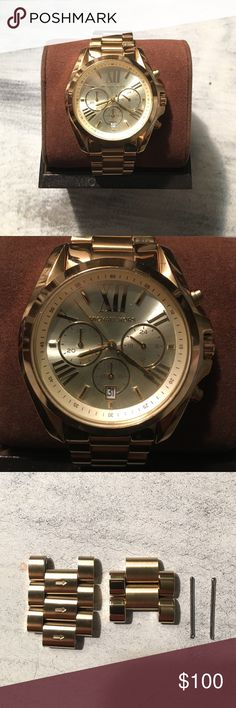 Michael Kors Gold Watch Michael Kors Gold Watch. Gently used. Excellent condition. Large face. Five links removed, but additional links and screws included. Original box and tags. Michael Kors Accessories Watches