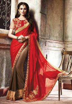 Buy Red Shaded Shimmer Lycra and Faux Crepe Half Half Saree with Blouse online, work: Embroidered, color: Brown / Red, usage: Festival, category: Sarees, fabric: Lycra, price: $116.96, item code: STN1911, gender: women, brand: Utsav