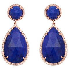 Lapis and Rose Gold Earrings with Diamonds - I like these if they were Coral: like the shape Jewelry Box, Jewelery, Jewelry Accessories, Fashion Accessories, Fine Jewelry, Rose Gold Earrings, Diamond Earrings, Vogue, Diamond Are A Girls Best Friend