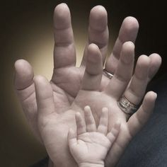 family photo with hands