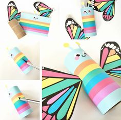 hello, Wonderful - RAINBOW BUTTERFLY PAPER TUBE CRAFT WITH FREE PRINTABLES