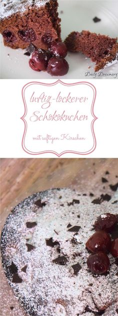 luftig-lockerer-Schoko-Kirsch-Kuchen - perfekter Sonntagskuchen easy 3 ingredients easy for a crowd easy healthy easy party easy quick easy simple Easy Smoothie Recipes, Healthy Dessert Recipes, Cookie Recipes, Torte Au Chocolat, Chocolate Cherry Cake, Pumpkin Spice Cupcakes, Fall Desserts, Food Cakes, Ice Cream Recipes