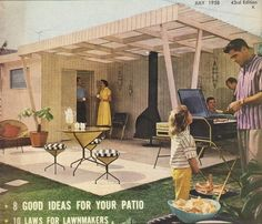 A fantastic Mid Century style backyard patio... with amazing accessories...