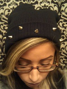 Black Spiked Cuffed Beanie Hat