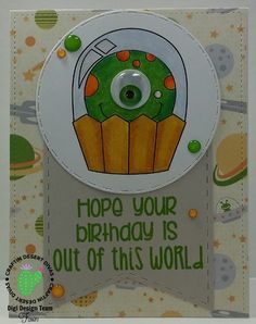 Cupcake Cutie Alien Monster Digital Stamp - Craftin Desert Divas