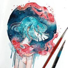 Les portraits éthérés en aquarelle de Hieu Dessein de dessin