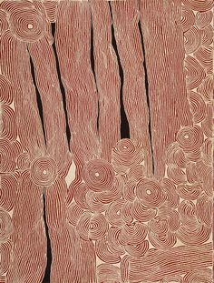 Ningura Napurrula, WOMAN'S BIRTH SITE AT THE ROCKHOLE SITE OF WIRRULNGA, Synthetic polymer paint on Belgian linen,               244 x 183 cm. Painted at Kintore, Northern Territory, for Papunya Tula Artists in 2004 Gallery Gabrielle Pizzi, Melbourne, Australia Gabrielle Pizzi Collection. Sotheby's 2015 Aboriginal Art auction, London.