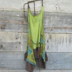 Funky Floral Eco Army Green and BrownTattered Halter by CreoleSha