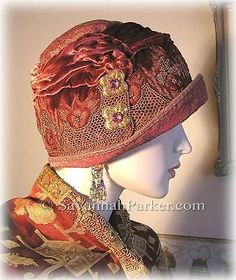 Antique Style 1920s Gatsby Flapper Cloche - Red Silk Velvet Embroidery Jewels