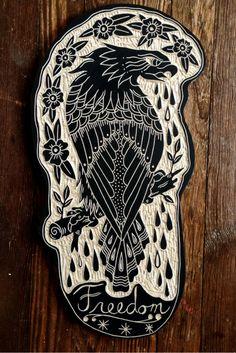 (by Bryn Perrott, aka deerjerk) Tatto Old, Dibujos Tattoo, Old School Tattoo Designs, Eagle Tattoos, Tatuagem Old School, Tattoo Flash Art, Time Tattoos, Cover Tattoo, Wood Engraving