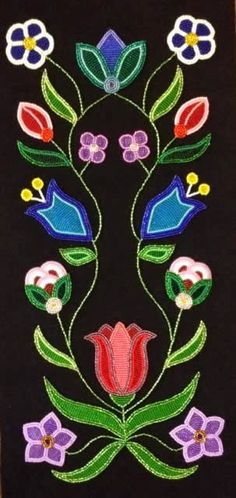 Beading Traditions: Ojibwe Floral Mural Underway at LCO ~ Lac Courte Oreilles News Native Beading Patterns, Beadwork Designs, Native Beadwork, Native American Beadwork, Native American Crafts, Nativity Crafts, Applique Patterns, Loom Patterns, Beading Projects