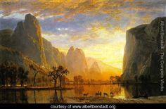 """Valley of the Yosemite 1864 - Albert Bierstadt - www.albertbierstadt.org  Have always loved Albert Bierstadt's work - he was one of the original """"painters of light""""."""