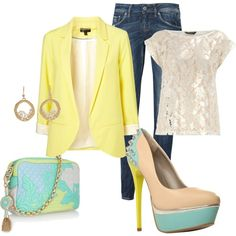 Love the yellow blazer!, created by melissacherise on Polyvore