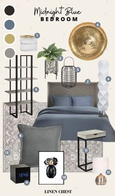 Spice Up Your Bedroom with Some Navy Blue | LC Living Dark Colors, Gray Color, Colours, Midnight Blue Bedroom, Simple Addition, Bedding Collections, Dark Wood, Geometric Shapes, Your Space