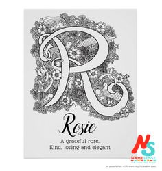 Rosie from the rose, which features in this new doodle art coloring in name meaning poster alongside other things beginning with R, like rabbits, rainbows, rockets, and raspberries. #letterr #doodleart #nameposter #rosie #zendoodle #girlsnames #coloringinposters