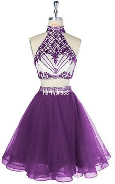 Purple Short Halter Two Pieces Tulle Crystal Beaded Party Graduation Homecoming Dress