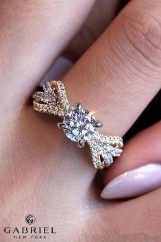 24 Gabriel & Co Engagement Rings Extraordinaire, co engagement rings twist split pave bands round cut yellow and white gold STARLET Rose Gold Engagement Ring, Designer Engagement Rings, Engagement Jewelry, Solitaire Engagement, Diamond Bands, Diamond Wedding Bands, Solitaire Diamond, Solitaire Rings, Bridal Rings