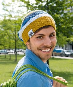 College Mountain Hat - Free Pattern: The 4-color stripe pattern gives this hat a fresh and sporty look.