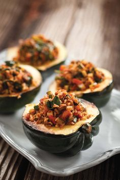 Savory Stuffed Acorn Squash -- recipe from new book Kicking Cancer in the Kitchen
