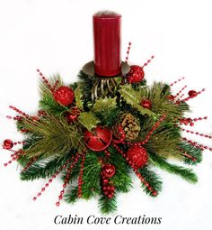 Christmas Candleholder Centerpiece Holiday by cabincovecreations
