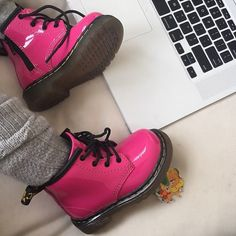 Pretty in pink: Kim Kardashian took to social media to celebrate those closest to her heart for Valentine's Day on Saturday, including daughter North who was dressed in bright pink Dr. Martens to mark the occasion Dr. Martens, Doc Martens Outfit, Doc Martens Oxfords, Baby North West, Percy Jackson, Coming Out, Kim Kardashian, Shoes, Tennis