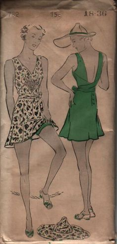 1930s one-piece swimming suit pattern, New York 782