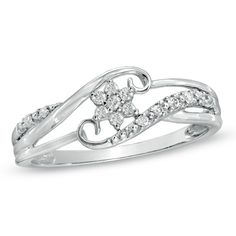 Cherished Promise Collection™ Diamond Accent Snowflake Ring in 10K White Gold - Zales $254.15