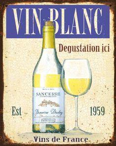 Vin-Blanc-metal Alcoholic Drinks, Beverages, France, Wine And Beer, White Wine, Glass, Decoupage, Pictures, Graphics