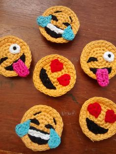 Set of 3 Crochet Emoji Magnets by StringTheoryC on Etsy