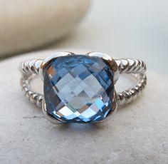 Blue Quartz Ring- Silver Ring- Gemstone Ring- Stone Ring- Blue Topaz Ring- Blue Stone Ring- Blue Ring- Topaz Ring- December Birthstone Ring