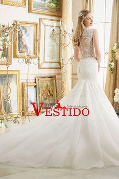 2017 tul de novia vestidos de cuello en V con apliques sirena del tren capilla