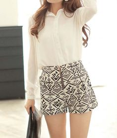 Aztec Print Shorts in White and Blue
