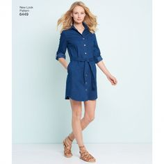 Looking for a shirt dress & knit dress sewing pattern? The New Look 6449 Dresses are perfect, read sewing pattern reviews here!