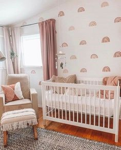 Muted rainbows are at the top of our 2020 Nursery Trends, an Baby Nursery Decor, Baby Bedroom, Baby Decor, Pastel Nursery, Vintage Nursery Girl, Baby Girl Bedroom Ideas, Baby Girl Rooms, Baby Girl Nursery Wallpaper, Nursery Sets